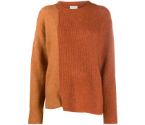 long-sleeve block colour knitted jumper