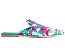 printed point-toe mules