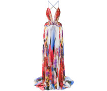 printed plunge gown