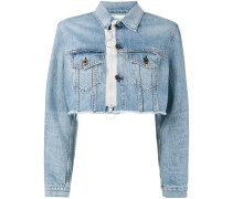 cropped zip denim jacket