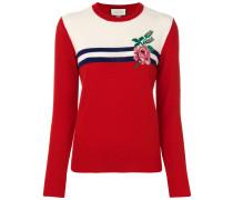 Intarsien-Pullover mit Rosenmotiv
