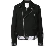 ruffle trim biker jacket