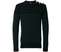 button-embellished striped jumper