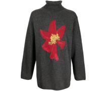 Pullover mit Intarsien-Blumenmuster