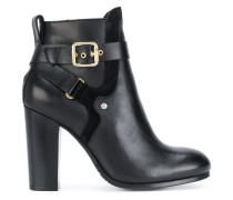 heeled buckle ankle boots
