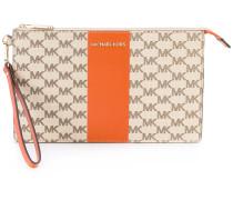 logo print clutch - women - Leder/Baumwolle