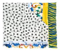 Gepunkteter Seidenschal mit Majolika-Print