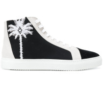 palm tree embroidered hi-top sneakers