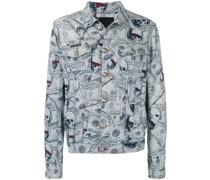 Jeansjacke mit Geldschein-Print