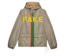 """Jacke mit """"Fake/Not""""-Print"""
