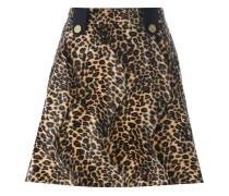 velvet effect animal print skirt