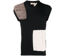 Patchwork-Pullover mit Zopfmuster