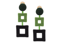 wrapped double square clip-on earrings