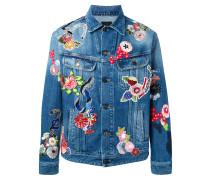Jeansjacke mit Blütenstickerei