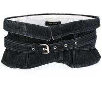 wide waist denim belt - women - Baumwolle/Stahl