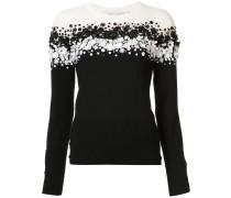 Pullover mit floralem Paillettenbesatz