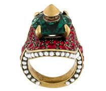 Ring mit bunten Kristallen und Nieten
