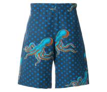 Shorts mit Tintenfisch-Print