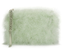 feathered clutch bag