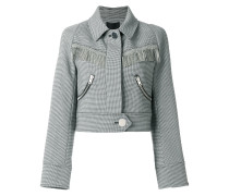 micro check cropped jacket