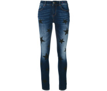 Skinny-Jeans mit Stern-Patches