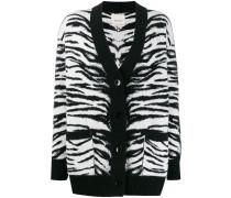 Intarsien-Cardigan mit Tigermuster