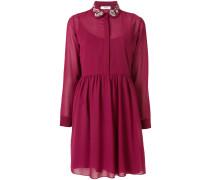crepe shirt dress with embellished collar