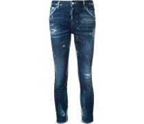 Cropped-Boyfriend-Jeans im Used-Look
