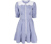 Gestreiftes Popeline-Kleid mit Spitze