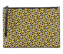 logo print leather clutch bag