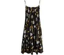 ALL OVER ROSES PLEATED DRESS BLACK PAPYR