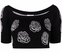 Cropped-Pullover mit Rosen-Print