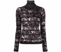 metallic-thread snake-print jumper