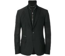 knit panelled blazer