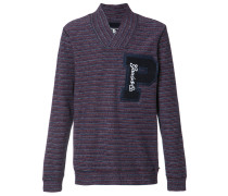 Gestreiftes Sweatshirt mit V-Ausschnitt