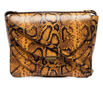 yellow Luna python embossed leather shoulder bag