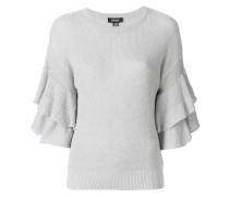 Metallic-Pullover mit Volant-Ärmeln