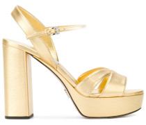 metallic-leather platform sandals