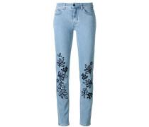 Skinny-Jeans mit Blätter-Stickerei - women