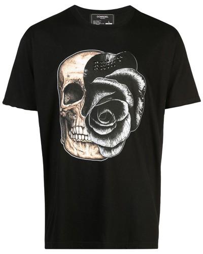 'Skull' T-Shirt mit Kristallen