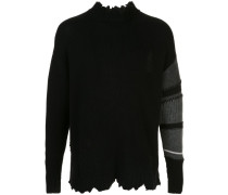 Distressed-Pullover mit Kontrastärmeln