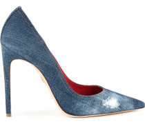denim lurex blade pumps