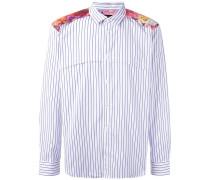Gestreiftes Hemd mit floralem Einsatz