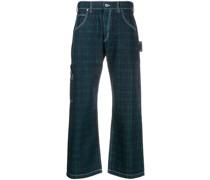 Gerade Jeans mit Schottenkaro