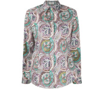 long-sleeved paisley-print shirt