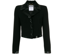 patent trim fitted jacket