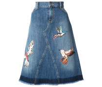 Jeansrock mit Vogel-Patches