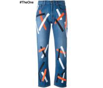 Jeans mit mehrfarbigen Streifen