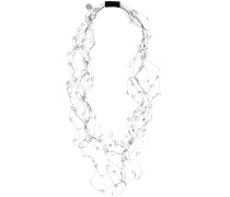 crystal beaded long layered necklace