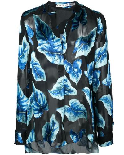 Leaf print sheer shirt